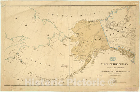 Map : Alaska 1867, North western America showing the territory ceded by Russia to the United States , Antique Vintage Reproduction