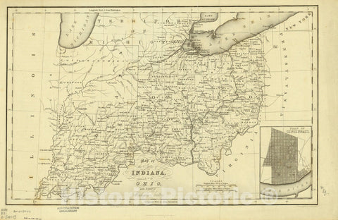 Map : Indiana, Ohio and the Territory of Michigan 1832, Map of the states of Indiana and Ohio with part of Michigan Territory , Antique Vintage Reproduction
