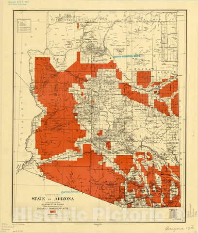 Historic Map : Arizona 1916, State of Arizona : lands designated by the Secretary of the Interior under the provisions of the Enlarged Homestead Acts , Antique Vintage Reproduction