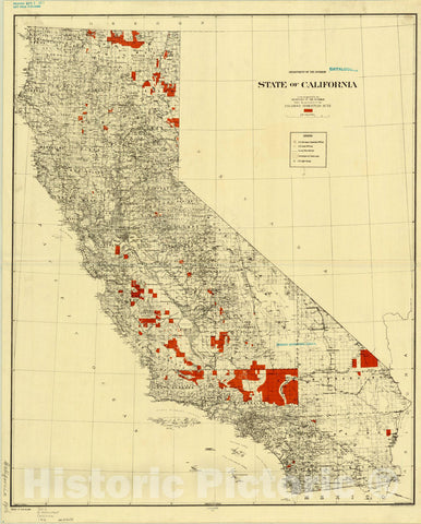 Map : California 1916, State of California : lands designated under the provisions of the Enlarged Homestead Acts , Antique Vintage Reproduction