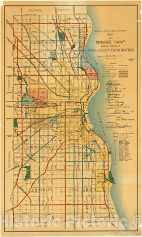 Map : Milwaukee County, Wisconsin 1935, Map of Milwaukee County showing system of state & county trunk highways , Antique Vintage Reproduction
