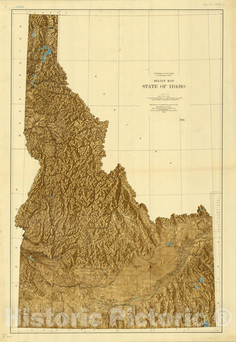 Map : Idaho 1926, Relief map, state of Idaho , Antique Vintage Reproduction