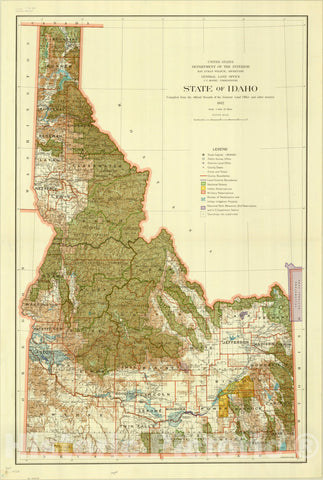 Map : Idaho 1932, State of Idaho , Antique Vintage Reproduction