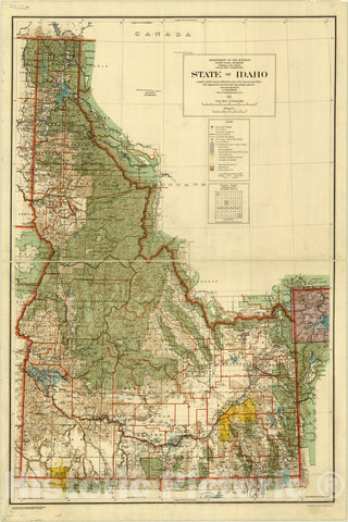 Map : Idaho 1921, State of Idaho : 1921 , Antique Vintage Reproduction