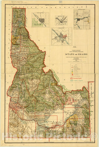 Map : Idaho 1909, State of Idaho , Antique Vintage Reproduction