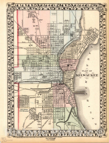 Map : Milwaukee, Wisconsin 1874, Plan of Milwaukee. County and township map of the states of Michigan and Wisconsin , Antique Vintage Reproduction