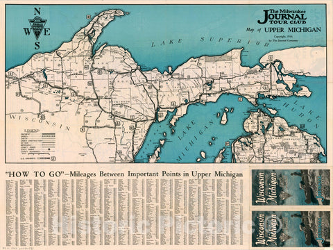 Map : Wisconsin 1930, Wisconsin and Upper Michigan, state highway systems , Antique Vintage Reproduction