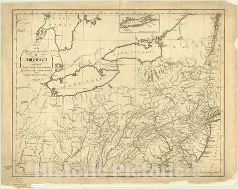 Map : United States, northeastern 1794, Map of the middle states of America : comprehends New-York, New-Jersey, Pennsylvania, Delaware, and the territory N.W. of Ohio