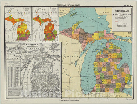Map : Michigan 1926, Michigan as a state 1860-1926, Antique Vintage Reproduction