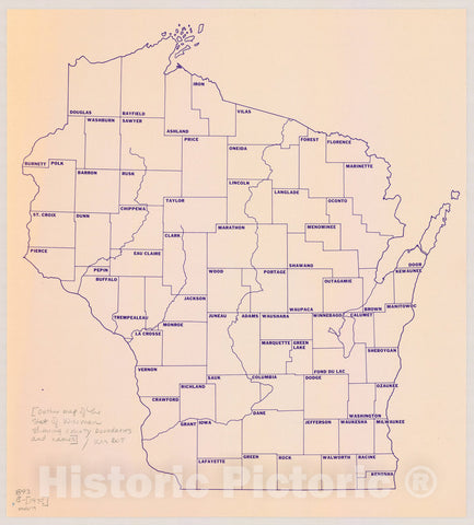 Map : Wisconsin 197-?, [Outline map of the State of Wisconsin showing county boundaries and names], Antique Vintage Reproduction