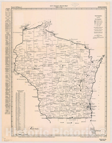Map : Wisconsin 1950, City-county state map, size 17 x 22 : Wisconsin , Antique Vintage Reproduction