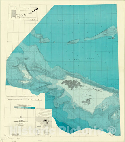 Map : Aleutian Islands, Alaska 1967, Bathymetry of the Aleutian Arc, United States-Alaska , Antique Vintage Reproduction