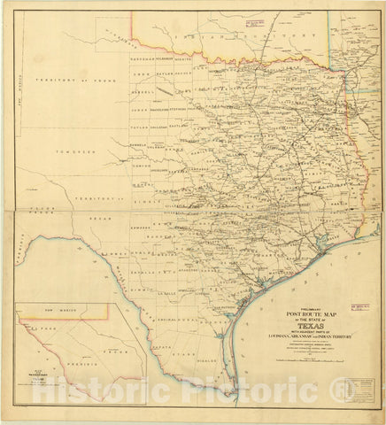 Map : Texas 1876, Preliminary post route map of the state of Texas : with adjacent parts of Louisiana, Arkansas and Indian Territory , Antique Vintage Reproduction