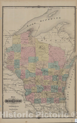 Map : Wisconsin 1877, Map of the state of Wisconsin , Antique Vintage Reproduction
