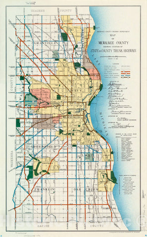 Map : Milwaukee County, Wisconsin 1939, Map of Milwaukee County showing system of state & county trunk highways , Antique Vintage Reproduction