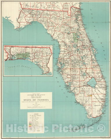Map : Florida 1926, State of Florida , Antique Vintage Reproduction