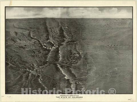 Map : Colorado 1910, Topographical birds-eye view the State of Colorado , Antique Vintage Reproduction