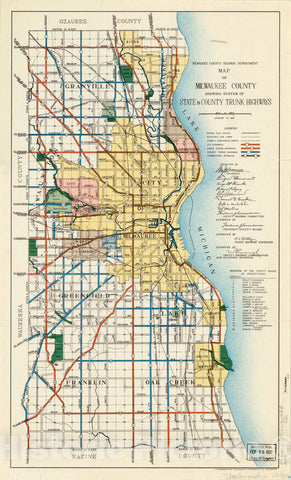 Map : Milwaukee County, Wisconsin 1937, Map of Milwaukee County showing system of state & county trunk highways , Antique Vintage Reproduction
