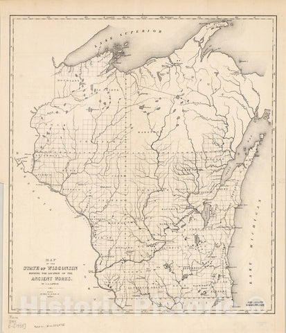 Map : Wisconsin 1855, Map of the State of Wisconsin shewing [sic] the location of the ancient works , Antique Vintage Reproduction