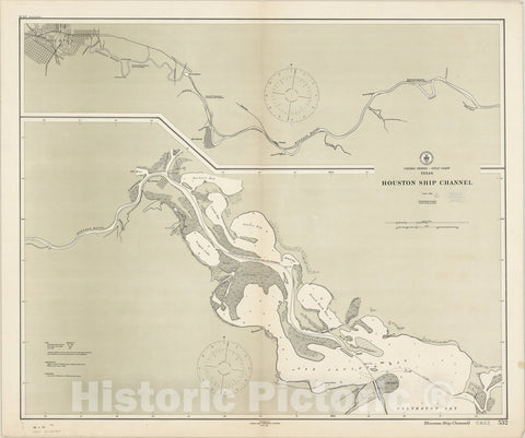 Map : Gulf Coast, Texas 1911, United States Gulf Coast, Texas : Houston Ship Channel, Antique Vintage Reproduction