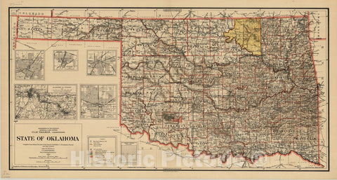 Map : Oklahoma 1914, State of Oklahoma , Antique Vintage Reproduction