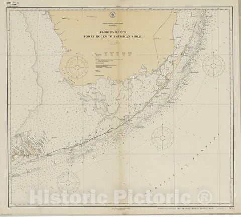 Map : Florida 1922, United States - East Coast, Florida : Fowey Rocks to American Shoal , Antique Vintage Reproduction