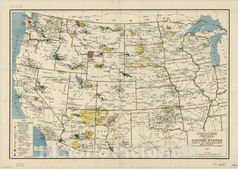 Historic Map : United States 1929, Part of United States west of the Mississippi River : showing activities of Bureaus of the Department of the Interior , Antique Vintage Reproduction