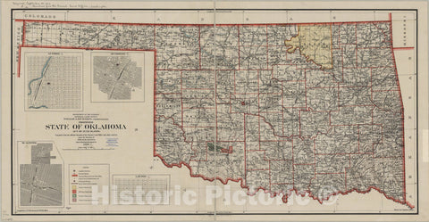 Map : Oklahoma 1906, Proposed state of Oklahoma : Act of June 16, 1906 , Antique Vintage Reproduction