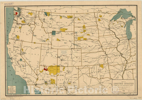 Map : United States 1914, Part of United States west of the Mississippi River , Antique Vintage Reproduction
