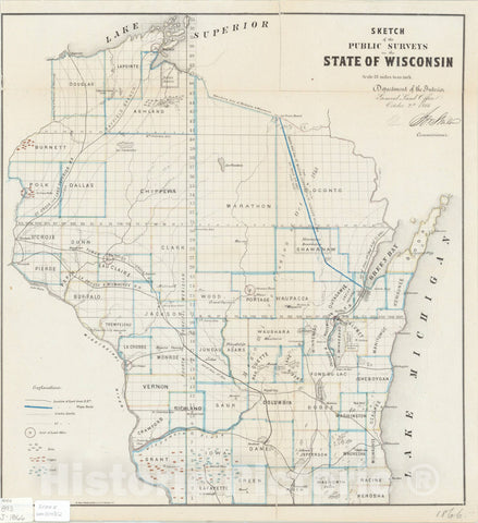 Map : Wisconsin 1866, Sketch of the public surveys in the State of Wisconsin , Antique Vintage Reproduction