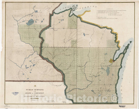 Map : Wisconsin 1850, Public surveys in the state of Wisconsin and territory of Minnesota, Antique Vintage Reproduction