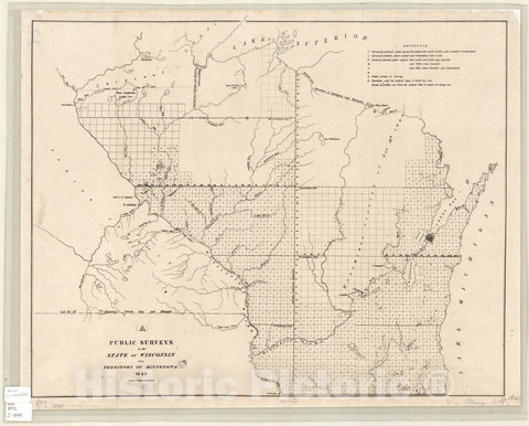 Map : Wisconsin and Minnesota Territory 1849, Public surveys in the state of Wisconsin and territory of Minnesota, Antique Vintage Reproduction