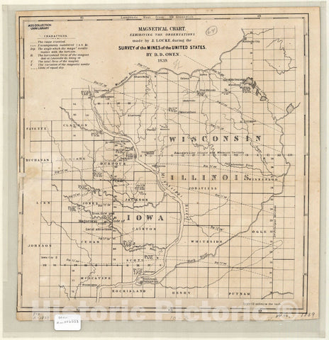Map : Wisconsin, Illinois, Iowa and Minnesota 1839, Magnetical chart, exhibiting the observations made by J. Locke during the survey of the mines of the United States