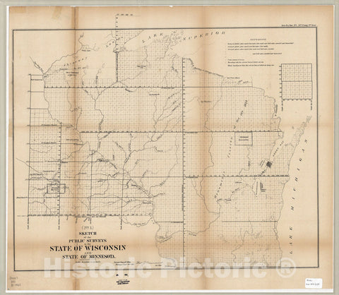Map : Wisconsin and Minnesota 1861, Sketch of the public surveys in the state of Wisconsin and state of Minnesota , Antique Vintage Reproduction