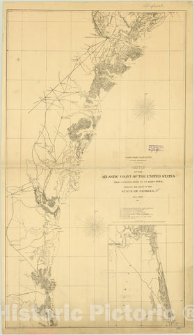 Map : Georgia 1861, Sketch of the Atlantic coast of the United States from Savannah River to St. Mary's River, embracing the coast of the State of Georgia
