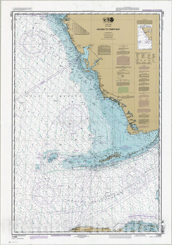 Map : Florida 2009, United States, Gulf coast, Havana to Tampa Bay , Antique Vintage Reproduction