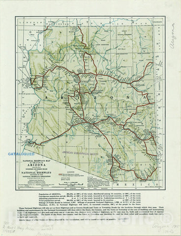 Map : Arizona 1915, National highways map of the state of Arizona : showing nineteen hundred miles of national highways