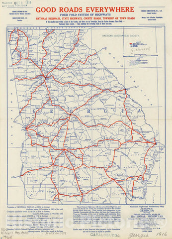Map : Georgia 1916, National highways preliminary map of the state of Georgia : showing three thousand miles of national highways, Antique Vintage Reproduction
