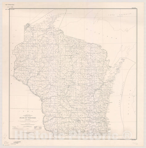 Map : Wisconsin 1968, State of Wisconsin: Base map. Compiled in 1966, Antique Vintage Reproduction
