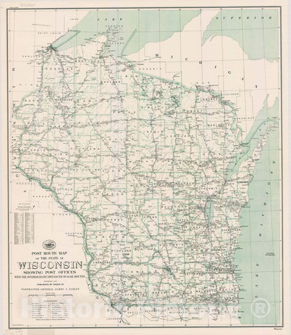 Map : Wisconsin 1935, Post route map of the state of Wisconsin : showing post offices with the intermediate distances on mail routes , Antique Vintage Reproduction