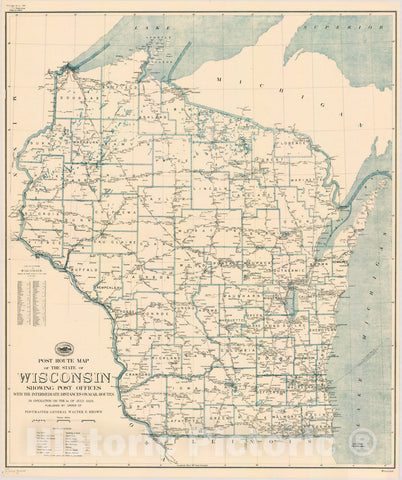Historic Map : Wisconsin 1929, Post route map of the state of Wisconsin : showing post offices with the intermediate distances on mail routes in operation on the 1st of July 1929