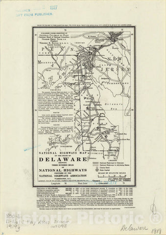 Map : Delaware 1919, National highways map of the state of Delaware : showing three hundred miles of national highways