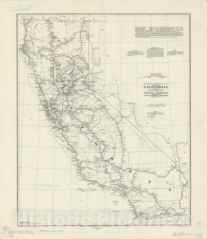 Map : California 1919, National Highways map of the state of California showing fifty-five hundred miles of National Highways