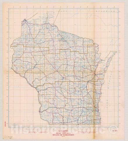 Map : Wisconsin 1947, State of Wisconsin, index map, control leveling , Antique Vintage Reproduction