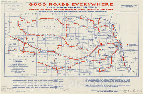 Map : Nebraska 1916, National highways preliminary map of the state of Nebraska : showing three thousand miles of national highways, Antique Vintage Reproduction