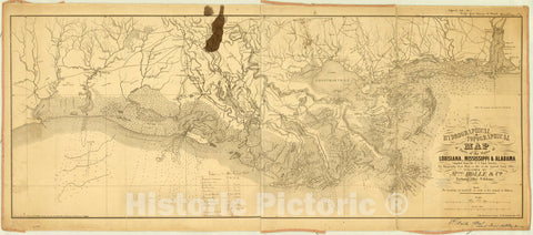 Map : Louisiana 1861, Hydrographical & topographical map of parts of the states of Louisiana, Mississippi & Alabama , Antique Vintage Reproduction