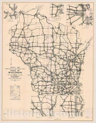 Map : Wisconsin 1942, Traffic map, showing annual 24 hour average traffic, state of Wisconsin , Antique Vintage Reproduction