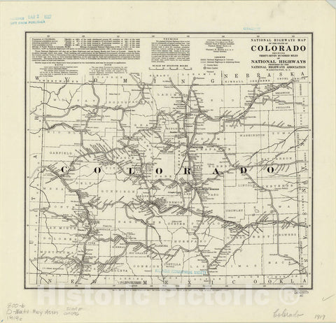 Map : Colorado 1919, National highways map of the state of Colorado : showing thirty-seven hundred miles of national highways , Antique Vintage Reproduction