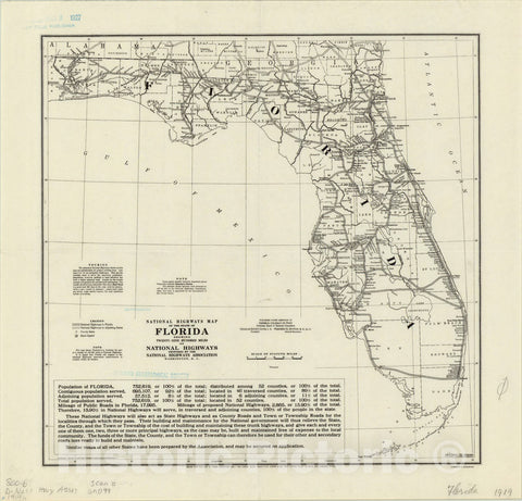 Map : Florida 1919, National highways map of the state of Florida : showing twenty-nine hundred miles of national highways