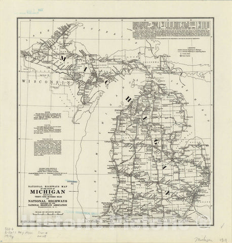 Map : Michigan 1919, National highways map of the state of Michigan: showing thirty-nine hundred miles of national highways